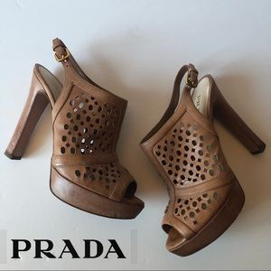 Prada Peep Toe Cut Out Slingback